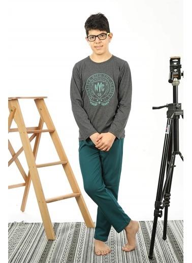 Akbeniz Çocuk Pamuk Uzun Kollu Pijama Takımı 4559 Antrasit